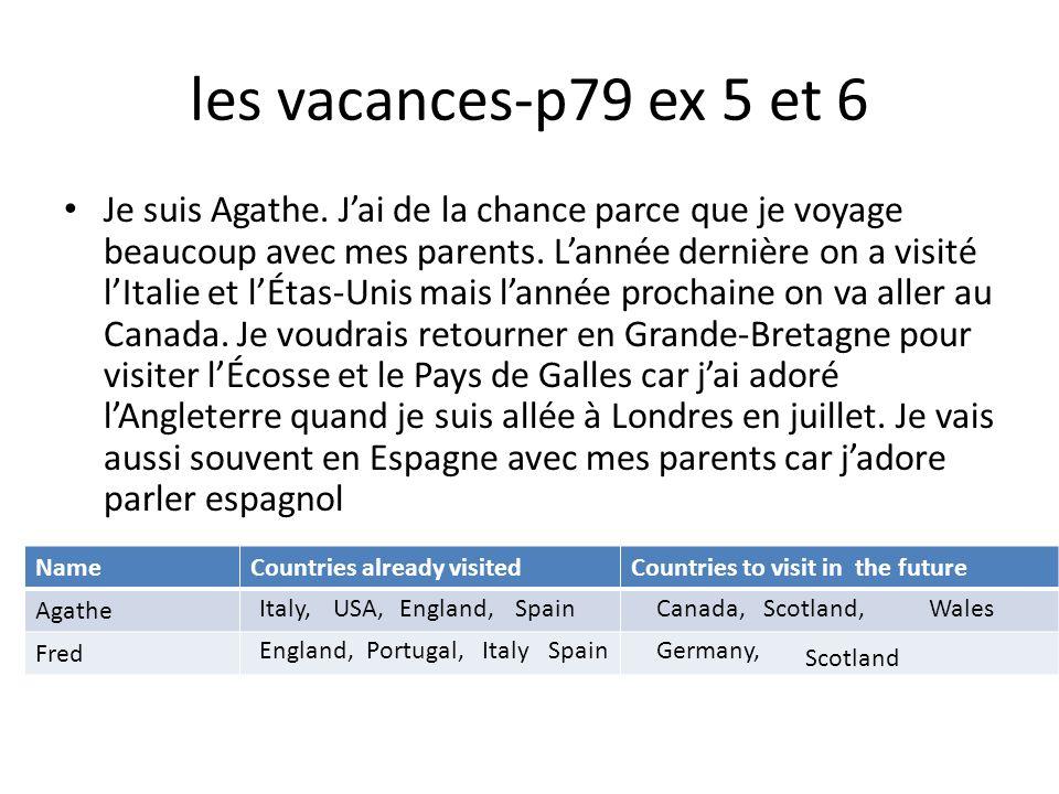 les vacances-p79 ex 5 et 6 Je suis Agathe. Jai de la chance parce que je voyage beaucoup avec mes parents. Lannée dernière on a visité lItalie et lÉta