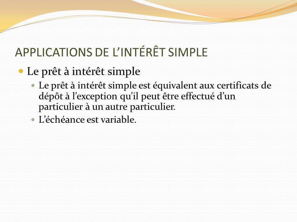 APPLICATIONS DE LINTÉRÊT SIMPLE Le prêt à intérêt simple Le prêt à intérêt simple est équivalent aux certificats de dépôt à lexception quil peut être