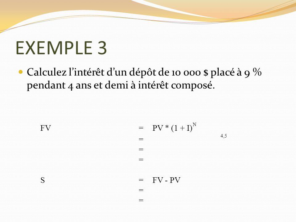 EXEMPLE 3 Calculez lintérêt dun dépôt de 10 000 $ placé à 9 % pendant 4 ans et demi à intérêt composé. FV = PV * (1 + I) N = 4,5 = = S =FV - PV = =