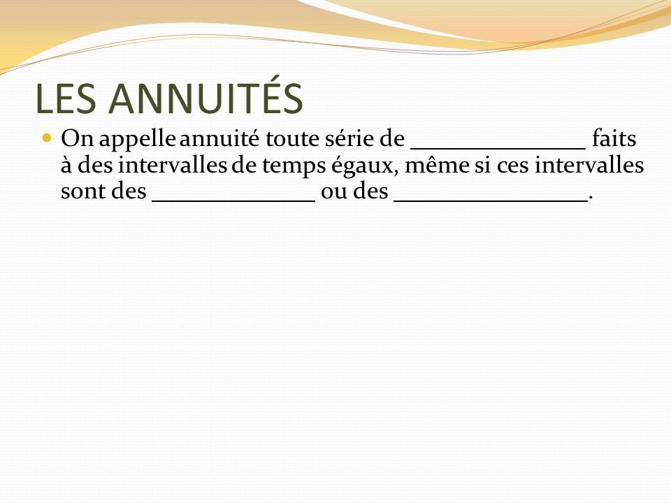 LES ANNUITÉS On appelle annuité toute série de faits à des intervalles de temps égaux, même si ces intervalles sont des ou des.