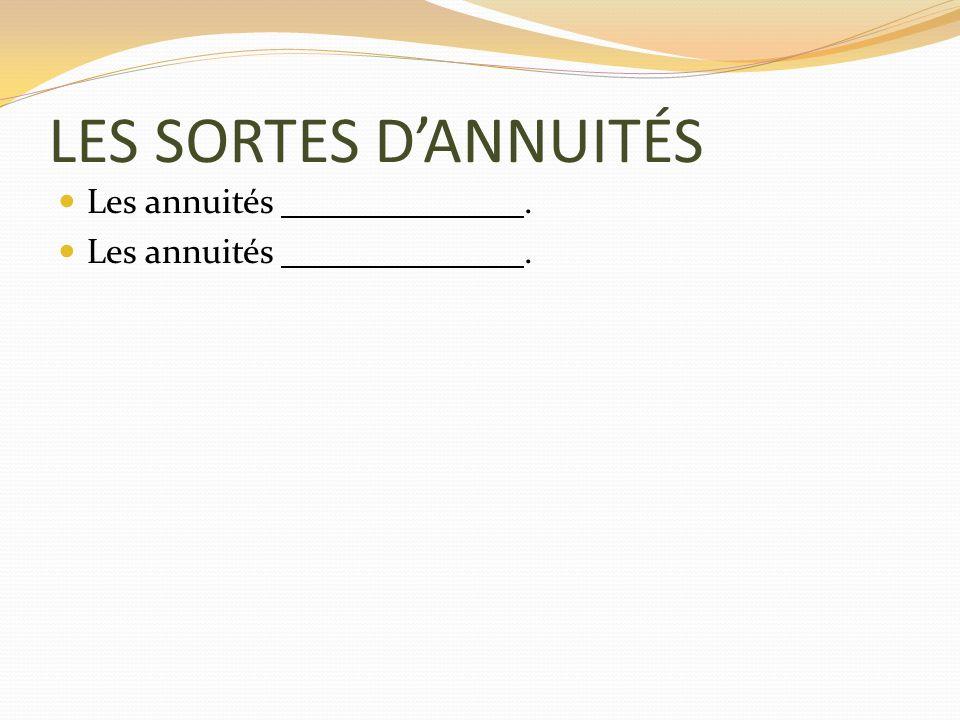 LES SORTES DANNUITÉS Les annuités.