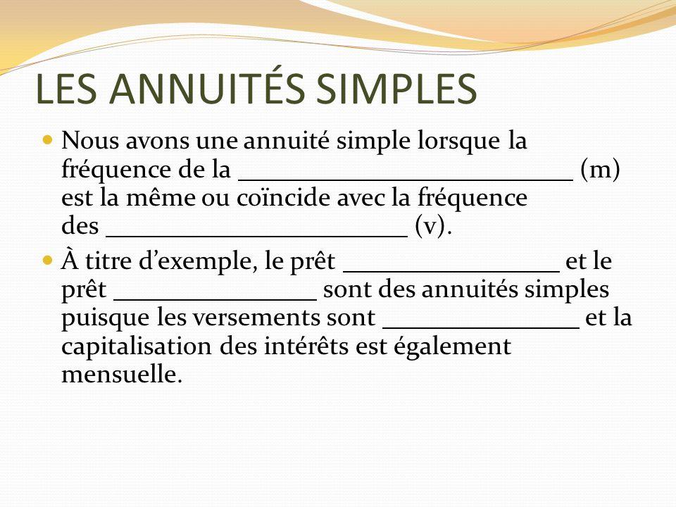 LES ANNUITÉS SIMPLES Nous avons une annuité simple lorsque la fréquence de la (m) est la même ou coïncide avec la fréquence des (v). À titre dexemple,