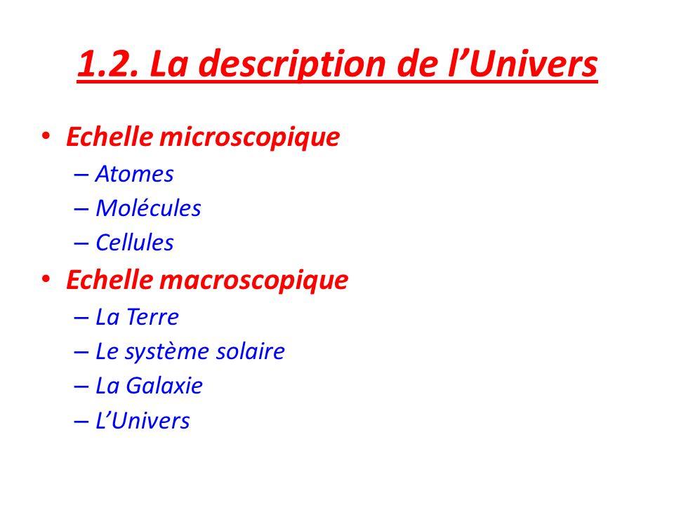 1.2. La description de lUnivers Echelle microscopique – Atomes – Molécules – Cellules Echelle macroscopique – La Terre – Le système solaire – La Galax