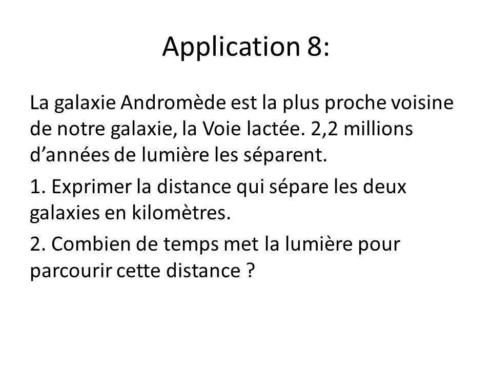 Application 8: La galaxie Andromède est la plus proche voisine de notre galaxie, la Voie lactée. 2,2 millions dannées de lumière les séparent. 1. Expr
