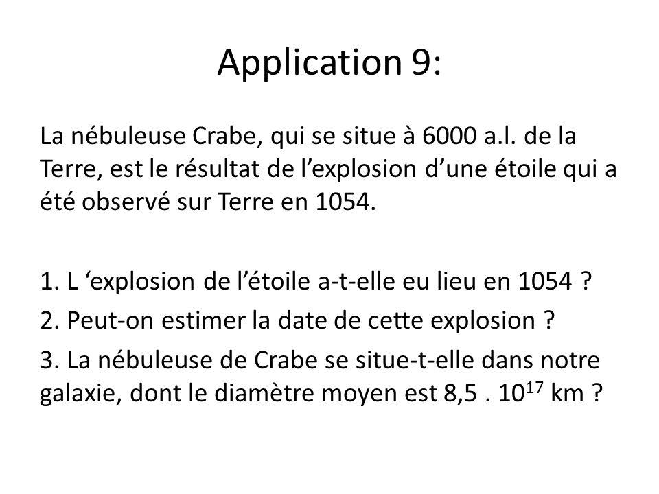 Application 9: La nébuleuse Crabe, qui se situe à 6000 a.l. de la Terre, est le résultat de lexplosion dune étoile qui a été observé sur Terre en 1054
