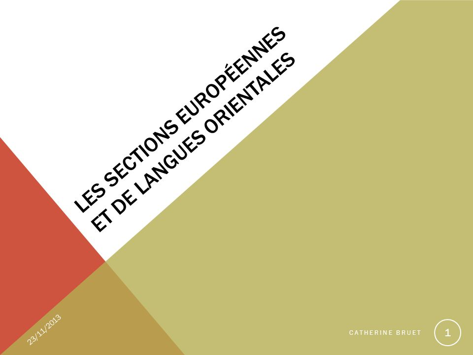 LES SECTIONS EUROPÉENNES ET DE LANGUES ORIENTALES 23/11/2013 CATHERINE BRUET 1
