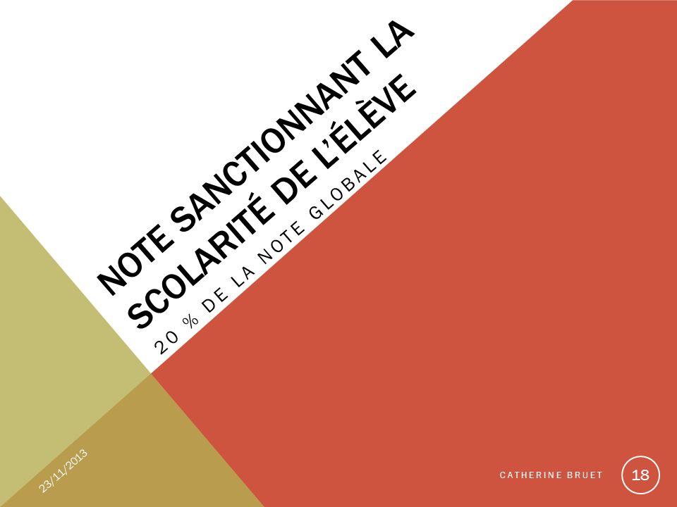 NOTE SANCTIONNANT LA SCOLARITÉ DE LÉLÈVE 20 % DE LA NOTE GLOBALE 23/11/2013 CATHERINE BRUET 18