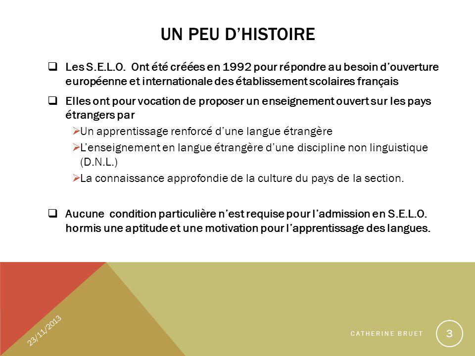 UN PEU DHISTOIRE Les S.E.L.O. Ont été créées en 1992 pour répondre au besoin douverture européenne et internationale des établissement scolaires franç