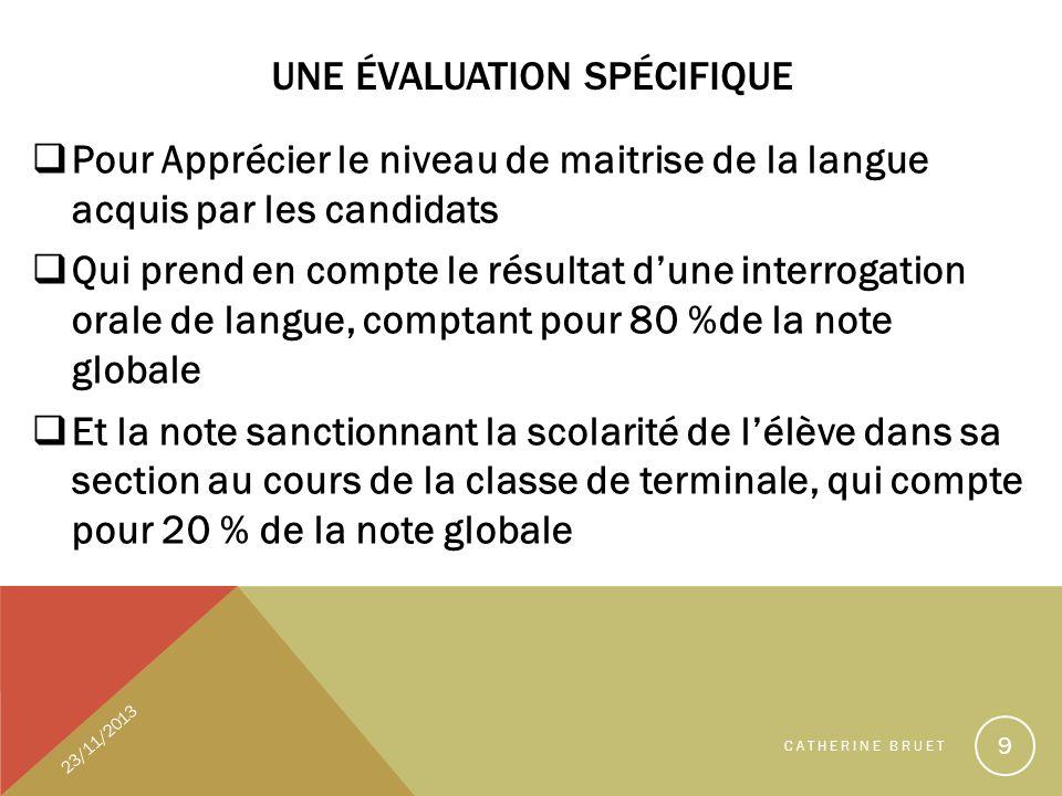 UNE ÉVALUATION SPÉCIFIQUE Pour Apprécier le niveau de maitrise de la langue acquis par les candidats Qui prend en compte le résultat dune interrogatio