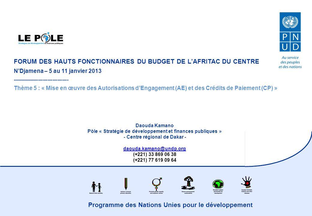 Programme des Nations Unies pour le développement FORUM DES HAUTS FONCTIONNAIRES DU BUDGET DE LAFRITAC DU CENTRE NDjamena – 5 au 11 janvier 2013 ----------------------------------- Thème 5 : « Mise en œuvre des Autorisations dEngagement (AE) et des Crédits de Paiement (CP) » Daouda Kamano Pôle « Stratégie de développement et finances publiques » - Centre régional de Dakar - daouda.kamano@undp.org (+221) 33 869 06 38 (+221) 77 619 09 64