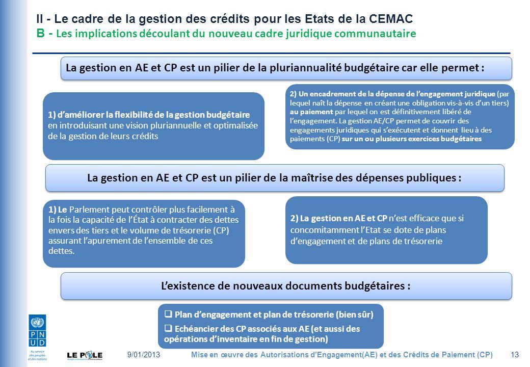 II - Le cadre de la gestion des crédits pour les Etats de la CEMAC B - Les implications découlant du nouveau cadre juridique communautaire 9/01/2013Mise en œuvre des Autorisations dEngagement(AE) et des Crédits de Paiement (CP)13 1) daméliorer la flexibilité de la gestion budgétaire en introduisant une vision pluriannuelle et optimalisée de la gestion de leurs crédits La gestion en AE et CP est un pilier de la pluriannualité budgétaire car elle permet : 2) Un encadrement de la dépense de lengagement juridique (par lequel naît la dépense en créant une obligation vis-à-vis dun tiers) au paiement par lequel on est définitivement libéré de lengagement.