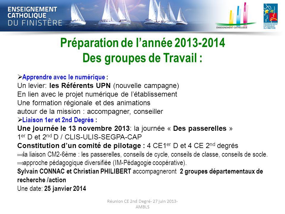 Préparation de la rentrée 2013-2014: Les Préparation de lannée 2013-2014 Des groupes de Travail : Suivi du parcours de lélève : 1ère réunion le 12/06/13, de 15 h à 17 h 30, à la DDEC à QUIMPER.