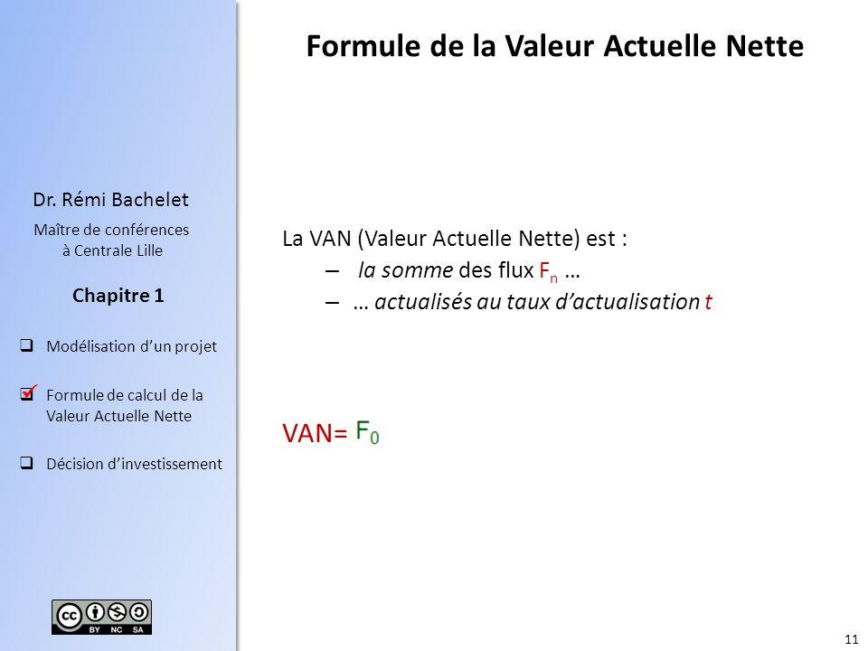 11 Dr. Rémi Bachelet Maître de conférences à Centrale Lille Modélisation dun projet Formule de calcul de la Valeur Actuelle Nette Décision dinvestisse
