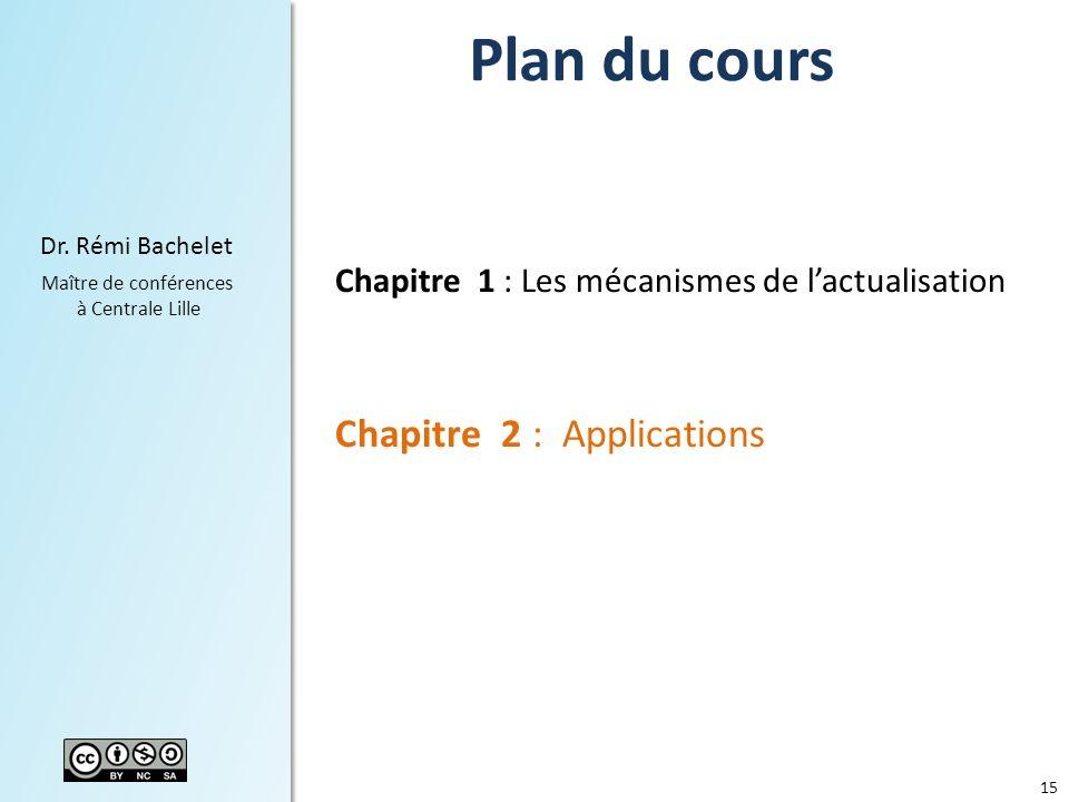 15 Dr. Rémi Bachelet Maître de conférences à Centrale Lille Plan du cours Chapitre 1 : Les mécanismes de lactualisation Chapitre 2 : Applications