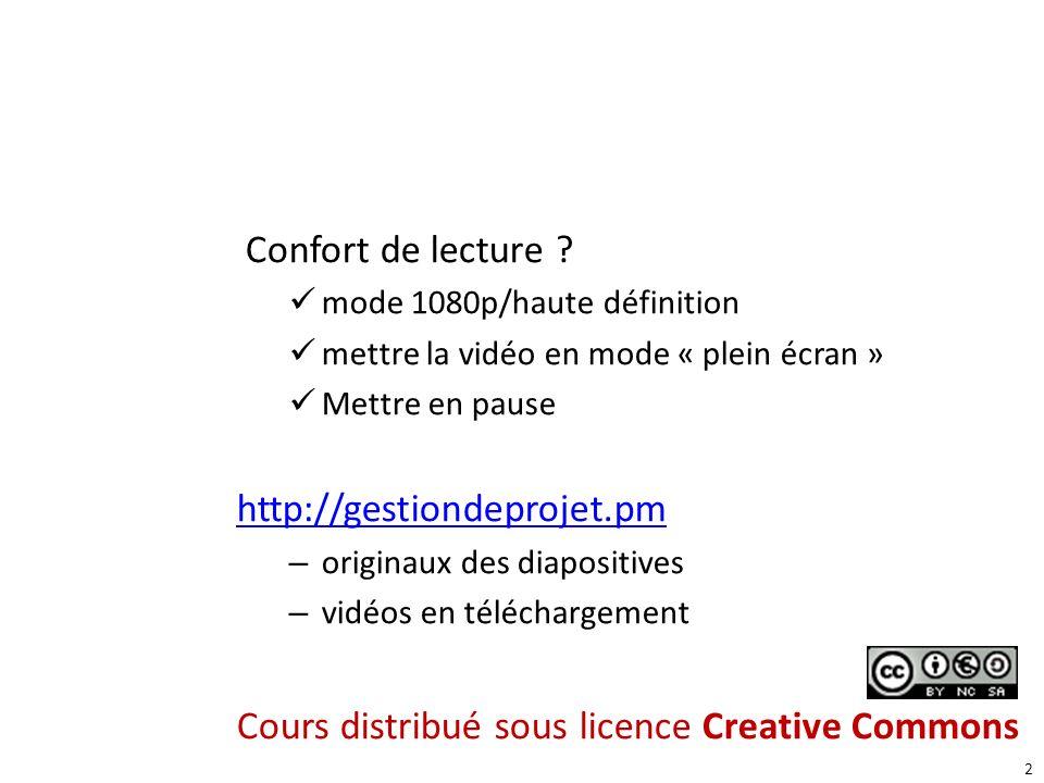 2 Confort de lecture ? mode 1080p/haute définition mettre la vidéo en mode « plein écran » Mettre en pause http://gestiondeprojet.pm – originaux des d