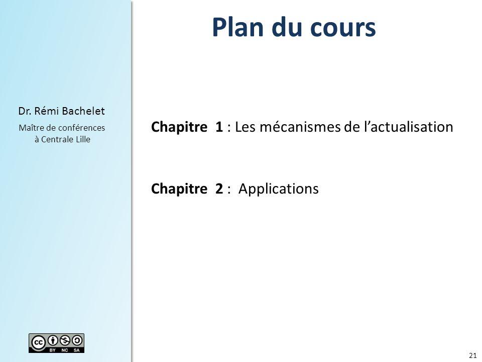 21 Dr. Rémi Bachelet Maître de conférences à Centrale Lille Plan du cours Chapitre 1 : Les mécanismes de lactualisation Chapitre 2 : Applications