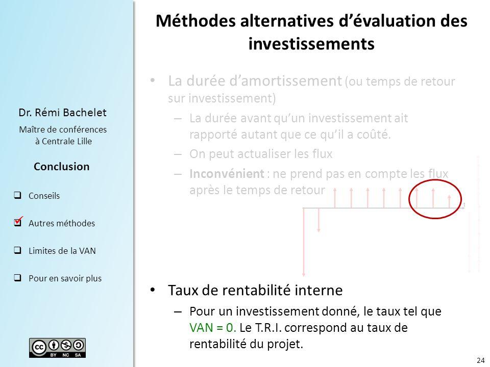 24 Dr. Rémi Bachelet Maître de conférences à Centrale Lille Conclusion Conseils Autres méthodes Limites de la VAN Pour en savoir plus Méthodes alterna