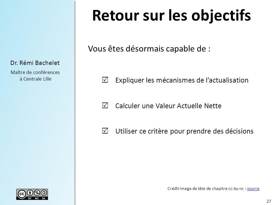 27 Dr. Rémi Bachelet Maître de conférences à Centrale Lille Retour sur les objectifs Vous êtes désormais capable de : Expliquer les mécanismes de lact
