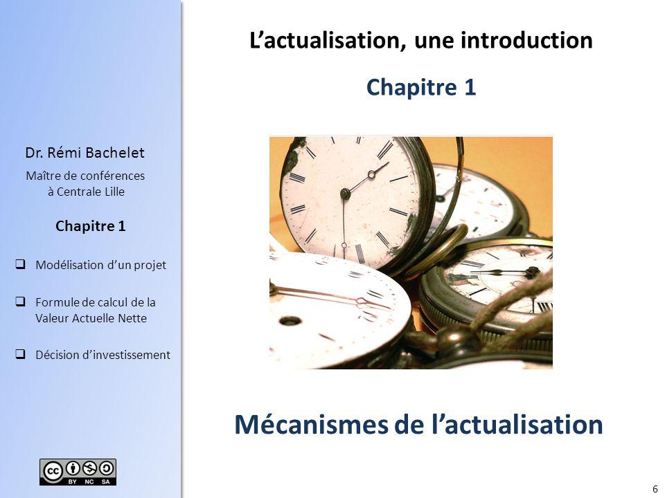 6 Dr. Rémi Bachelet Maître de conférences à Centrale Lille Modélisation dun projet Formule de calcul de la Valeur Actuelle Nette Décision dinvestissem