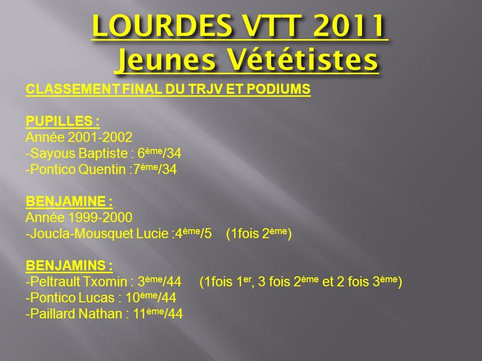LOURDES VTT 2011 Jeunes Vététistes CLASSEMENT FINAL DU TRJV ET PODIUMS PUPILLES : Année 2001-2002 -Sayous Baptiste : 6 ème /34 -Pontico Quentin :7 ème