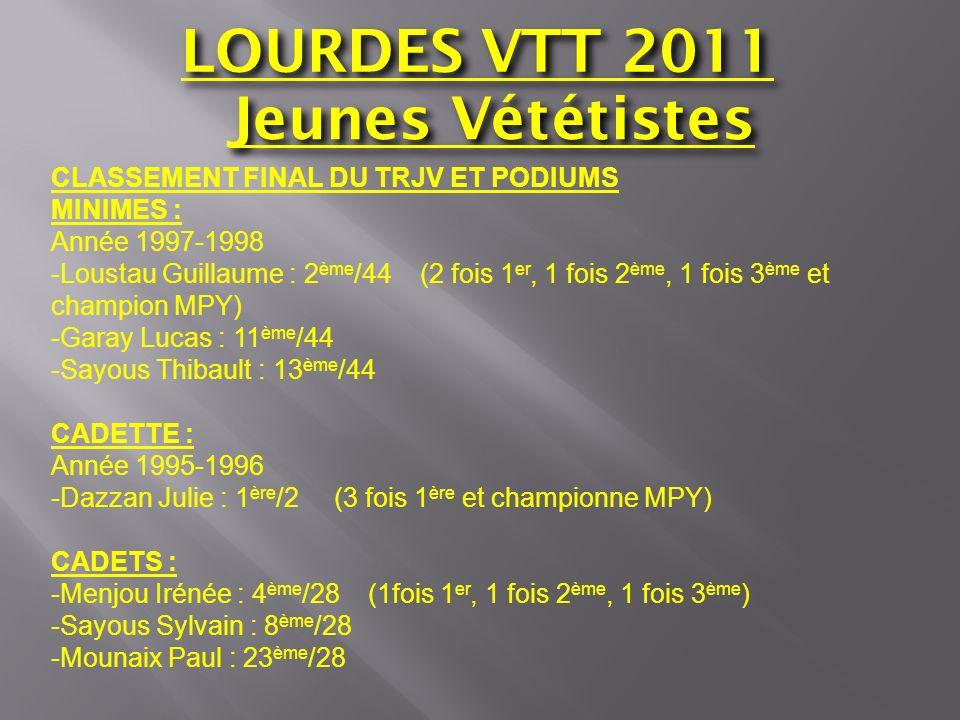 LOURDES VTT 2011 Jeunes Vététistes CLASSEMENT FINAL DU TRJV ET PODIUMS MINIMES : Année 1997-1998 -Loustau Guillaume : 2 ème /44 (2 fois 1 er, 1 fois 2