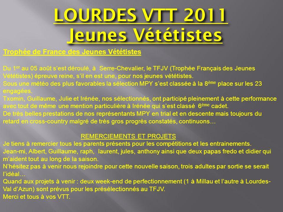 LOURDES VTT 2011 Jeunes Vététistes Trophée de France des Jeunes Vététistes Du 1 er au 05 août sest déroulé, à Serre-Chevalier, le TFJV (Trophée França