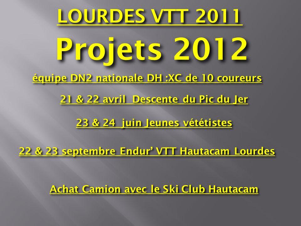 Projets 2012 équipe DN2 nationale DH :XC de 10 coureurs 21 & 22 avril Descente du Pic du Jer Achat Camion avec le Ski Club Hautacam 23 & 24 juin Jeune
