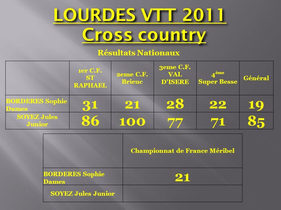 Cross country Résultats Nationaux Championnat de France Méribel BORDERES Sophie Dames 21 SOYEZ Jules Junior 1er C.F. ST RAPHAEL 2eme C.F. Brieuc 3eme