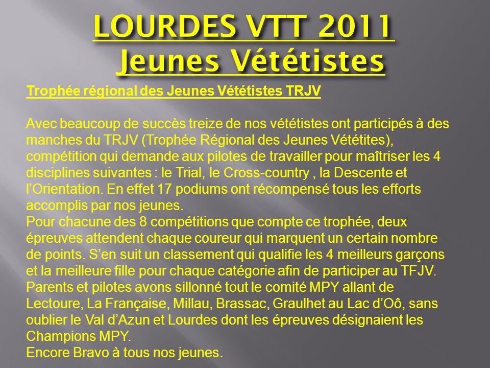 LOURDES VTT 2011 Jeunes Vététistes CLASSEMENT FINAL DU TRJV ET PODIUMS PUPILLES : Année 2001-2002 -Sayous Baptiste : 6 ème /34 -Pontico Quentin :7 ème /34 BENJAMINE : Année 1999-2000 -Joucla-Mousquet Lucie :4 ème /5 (1fois 2 ème ) BENJAMINS : -Peltrault Txomin : 3 ème /44 (1fois 1 er, 3 fois 2 ème et 2 fois 3 ème ) -Pontico Lucas : 10 ème /44 -Paillard Nathan : 11 ème /44