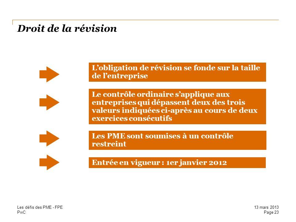 PwC Droit de la révision Le contrôle ordinaire sapplique aux entreprises qui dépassent deux des trois valeurs indiquées ci-après au cours de deux exer
