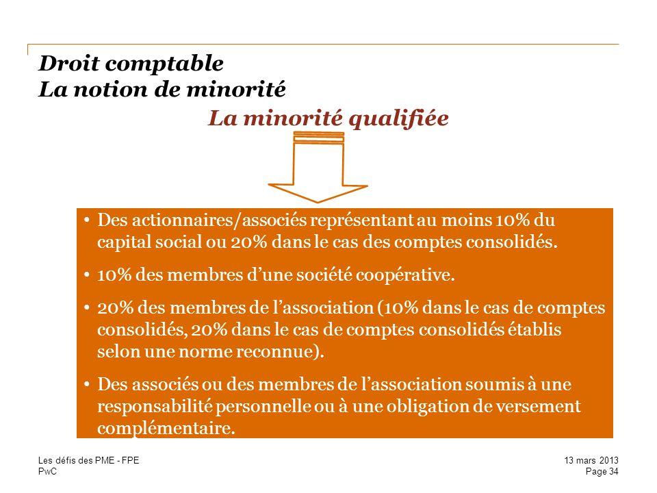 PwC Droit comptable La notion de minorité La minorité qualifiée Des actionnaires/associés représentant au moins 10% du capital social ou 20% dans le c