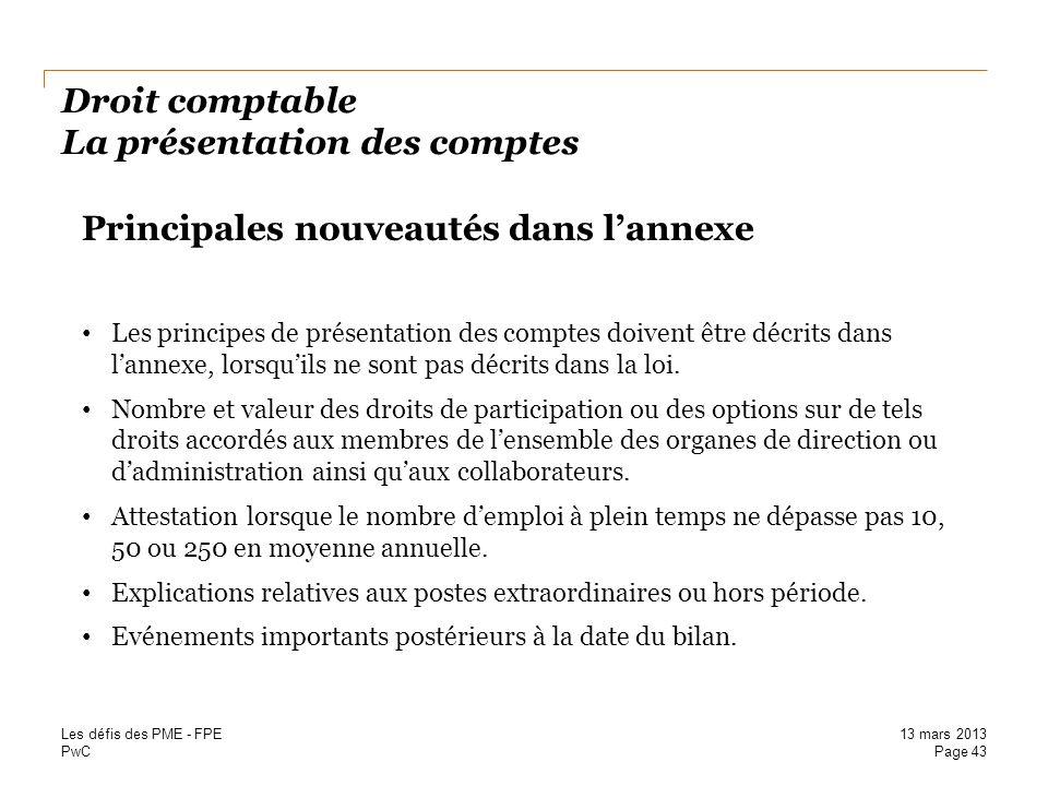 PwC Droit comptable La présentation des comptes Principales nouveautés dans lannexe Les principes de présentation des comptes doivent être décrits dan