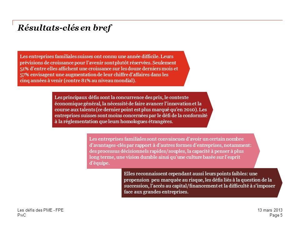 PwC Résultats-clés en bref Les entreprises familiales suisses ont connu une année difficile. Leurs prévisions de croissance pour lavenir sont plutôt r