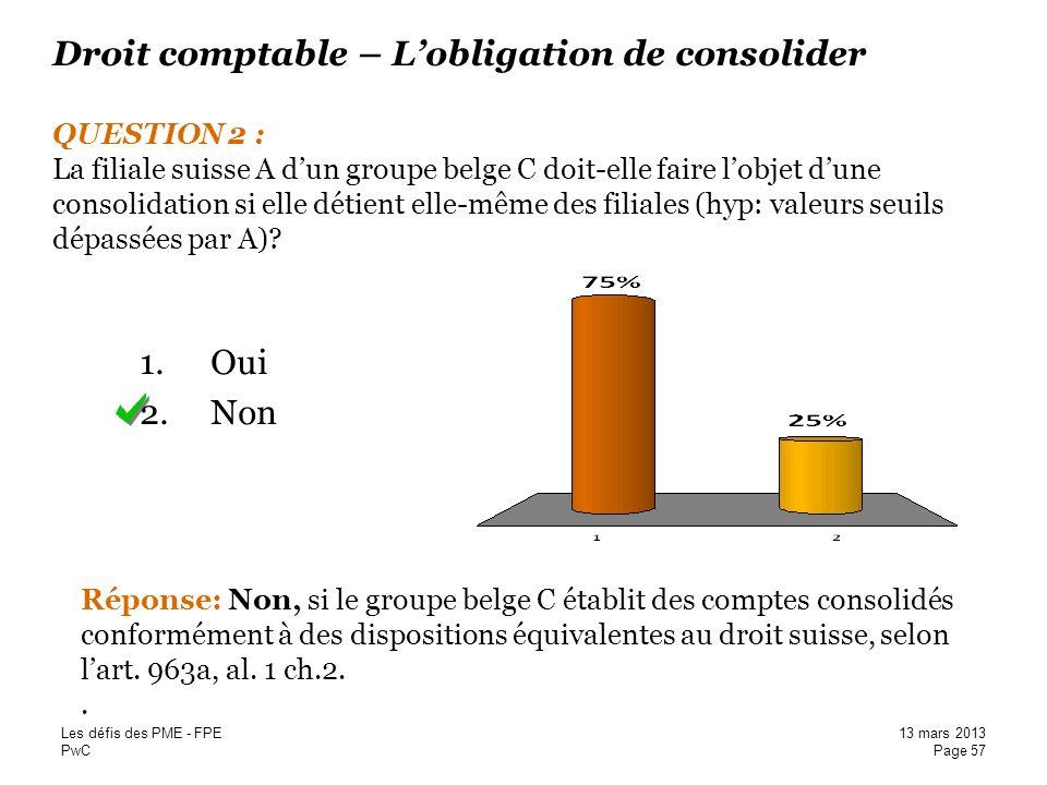 PwC Droit comptable – Lobligation de consolider QUESTION 2 : La filiale suisse A dun groupe belge C doit-elle faire lobjet dune consolidation si elle