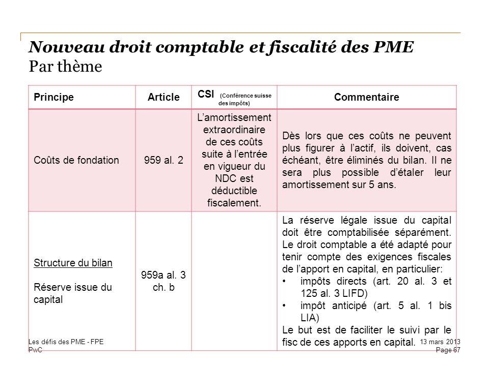 PwC Nouveau droit comptable et fiscalité des PME Par thème PrincipeArticle CSI (Conférence suisse des impôts) Commentaire Coûts de fondation959 al. 2