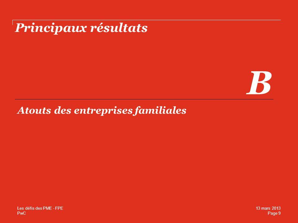 PwC Principaux résultats B Atouts des entreprises familiales Page 9 13 mars 2013 Les défis des PME - FPE