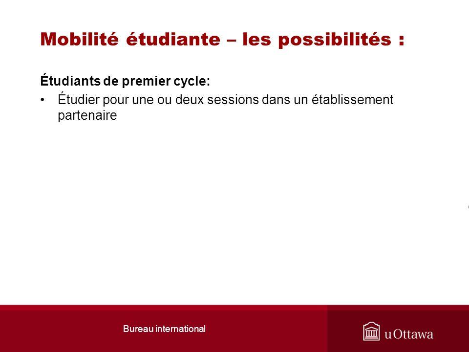 Mobilité étudiante – les possibilités : Étudiants de premier cycle: Étudier pour une ou deux sessions dans un établissement partenaire Bureau internat