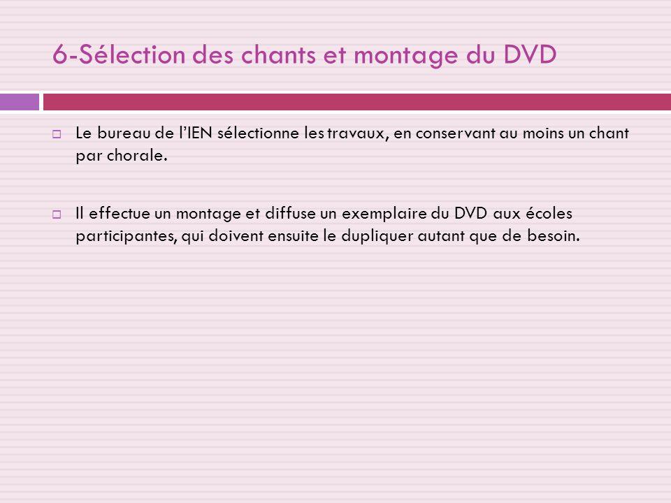 6-Sélection des chants et montage du DVD Le bureau de lIEN sélectionne les travaux, en conservant au moins un chant par chorale.