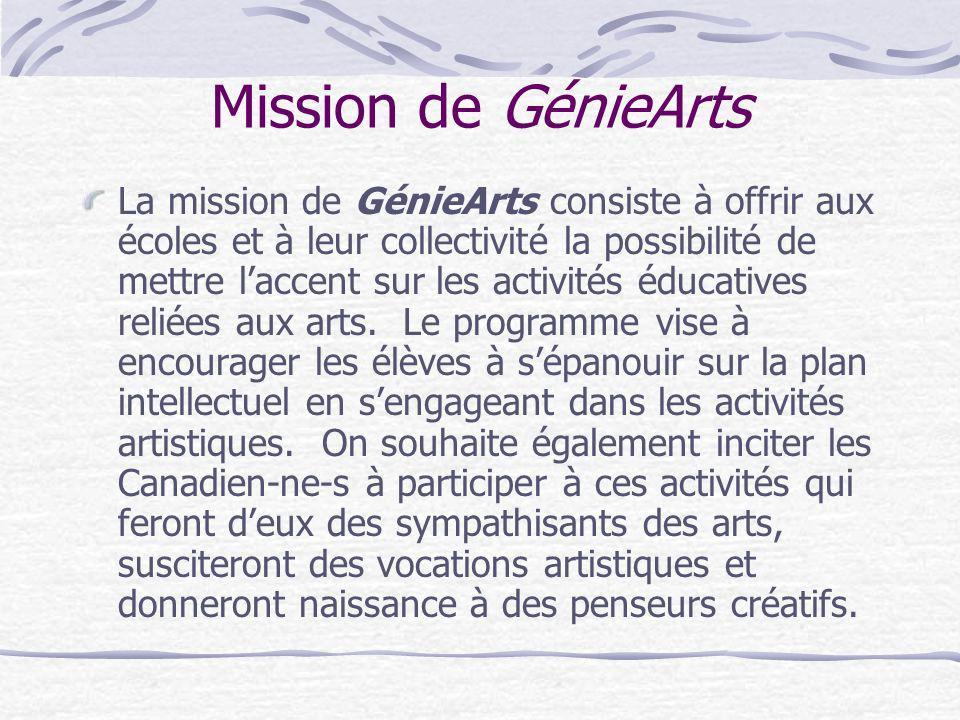 Mission de GénieArts La mission de GénieArts consiste à offrir aux écoles et à leur collectivité la possibilité de mettre laccent sur les activités éd
