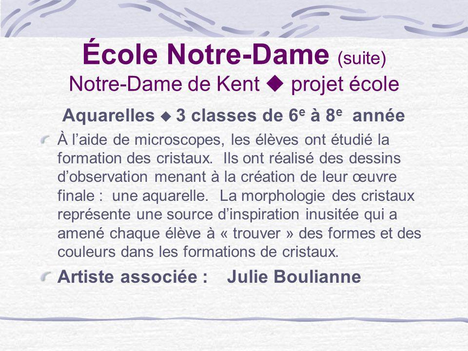 École Notre-Dame (suite) Notre-Dame de Kent projet école Aquarelles 3 classes de 6 e à 8 e année À laide de microscopes, les élèves ont étudié la form