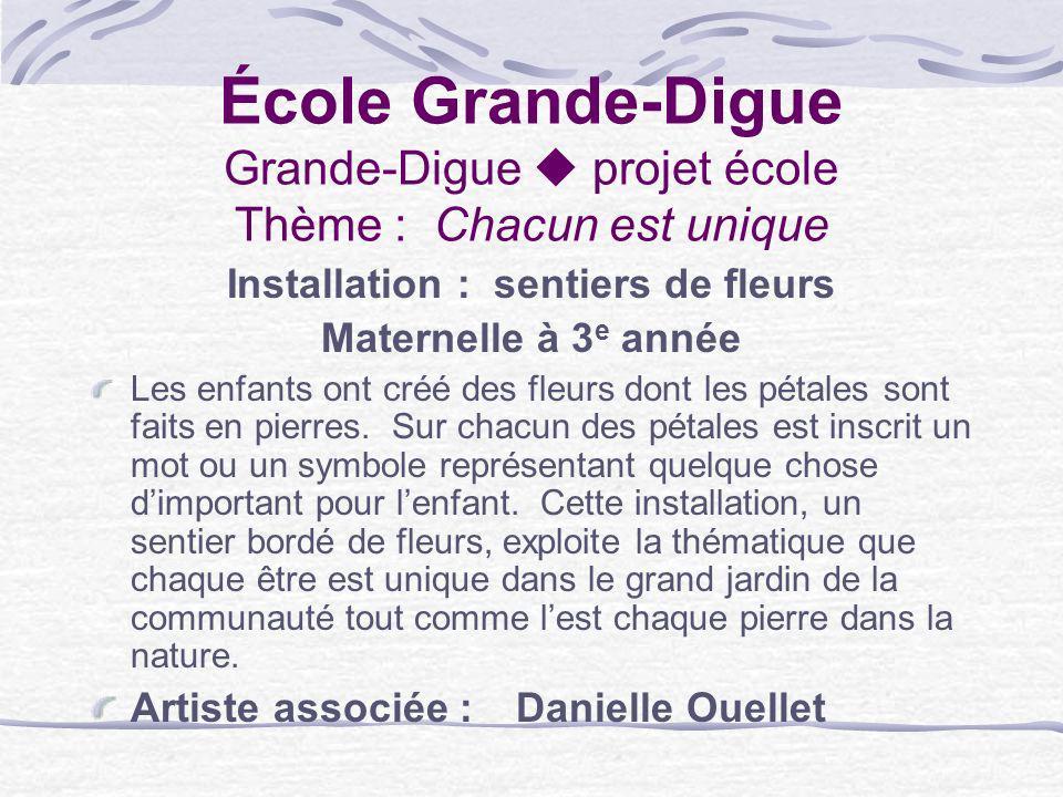 École Grande-Digue Grande-Digue projet école Thème : Chacun est unique Installation : sentiers de fleurs Maternelle à 3 e année Les enfants ont créé d