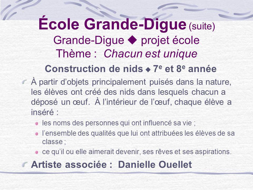 École Grande-Digue (suite) Grande-Digue projet école Thème : Chacun est unique Construction de nids 7 e et 8 e année À partir dobjets principalement p