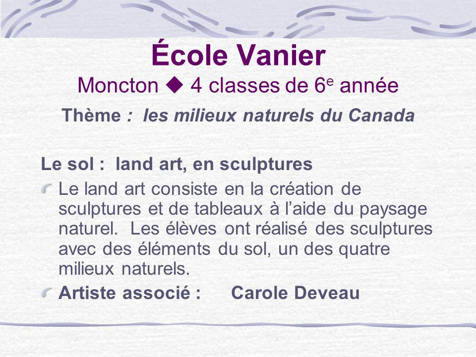 École Vanier Moncton 4 classes de 6 e année Thème : les milieux naturels du Canada Le sol : land art, en sculptures Le land art consiste en la créatio
