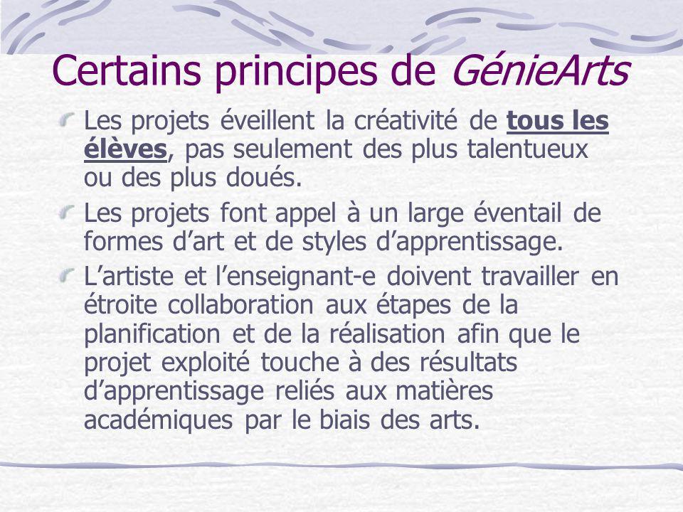 Certains principes de GénieArts Les projets éveillent la créativité de tous les élèves, pas seulement des plus talentueux ou des plus doués. Les proje