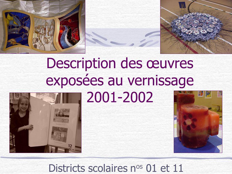 Description des œuvres exposées au vernissage 2001-2002 Districts scolaires n os 01 et 11