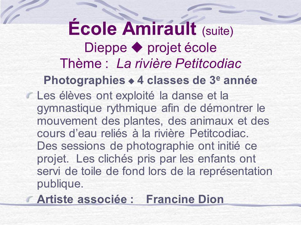 École Amirault (suite) Dieppe projet école Thème : La rivière Petitcodiac Photographies 4 classes de 3 e année Les élèves ont exploité la danse et la