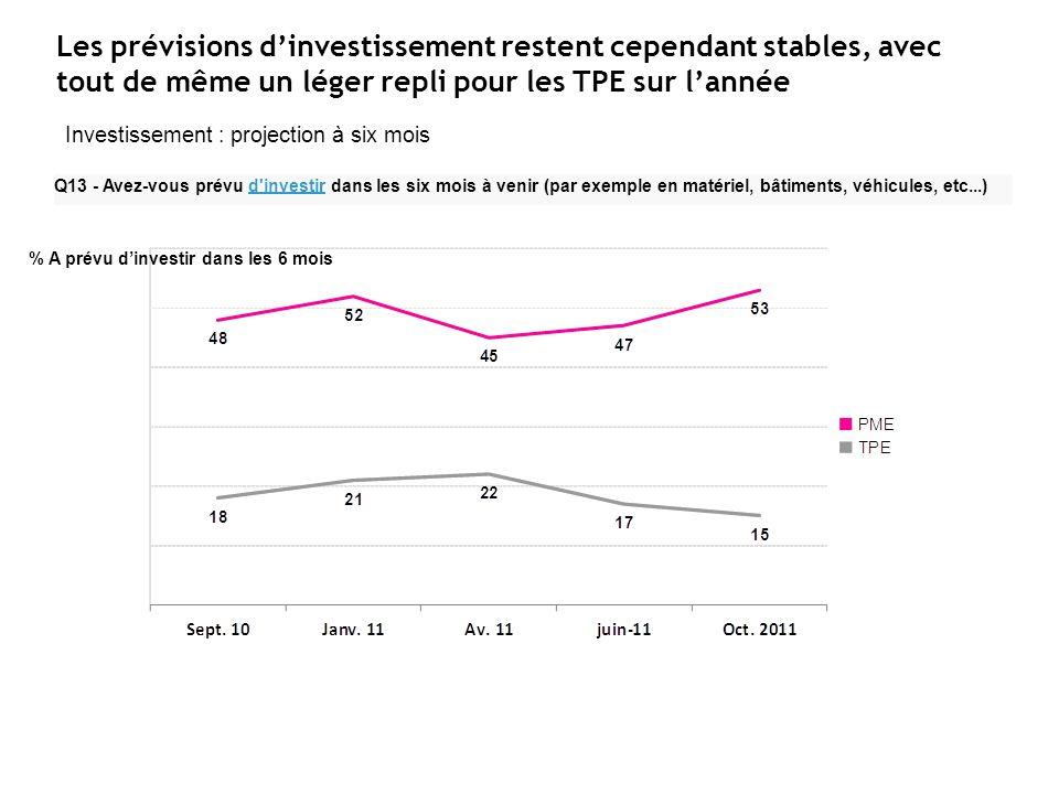 Les prévisions dinvestissement restent cependant stables, avec tout de même un léger repli pour les TPE sur lannée Q13 - Avez-vous prévu d investir dans les six mois à venir (par exemple en matériel, bâtiments, véhicules, etc...) Investissement : projection à six mois % A prévu dinvestir dans les 6 mois