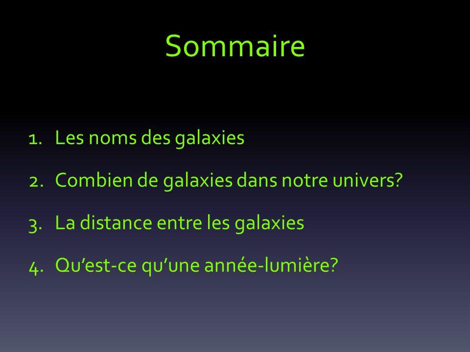 Sommaire 1.Les noms des galaxies 2.Combien de galaxies dans notre univers? 3.La distance entre les galaxies 4.Quest-ce quune année-lumière?