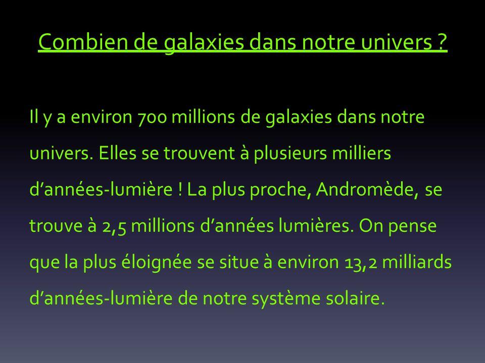 Combien de galaxies dans notre univers ? Il y a environ 700 millions de galaxies dans notre univers. Elles se trouvent à plusieurs milliers dannées-lu