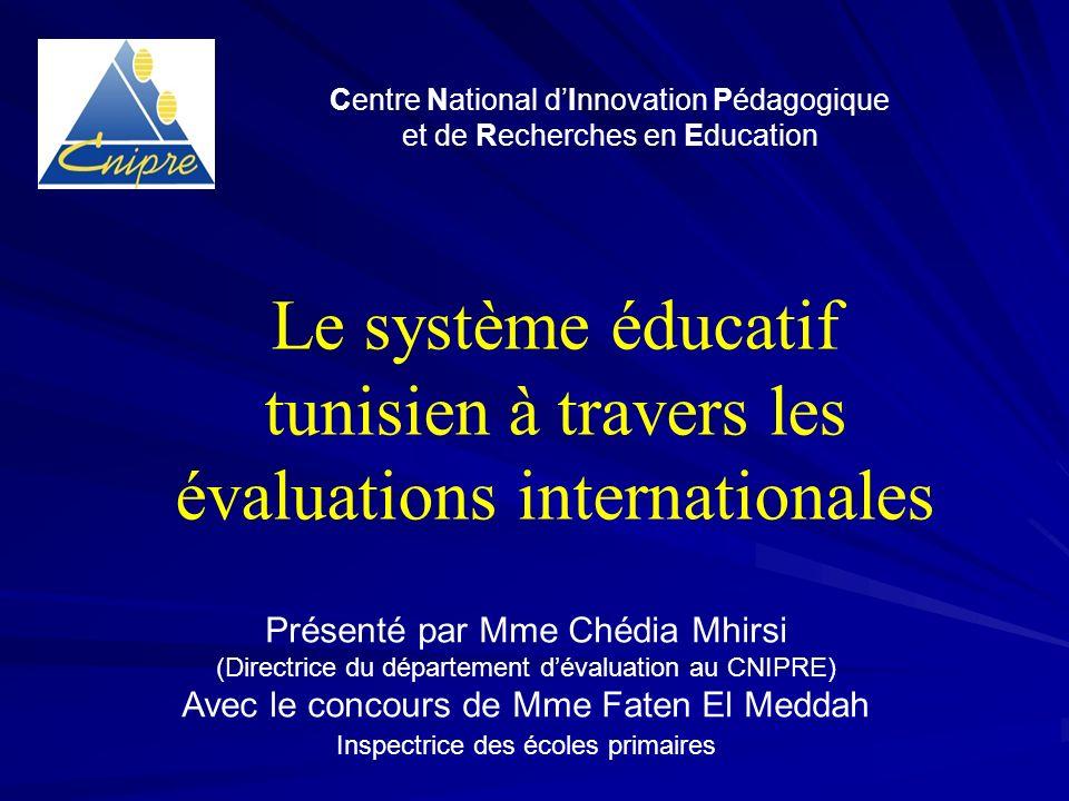 Centre National dInnovation Pédagogique et de Recherches en Education Le système éducatif tunisien à travers les évaluations internationales Présenté